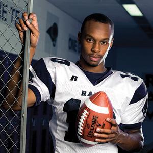 Em sua carreira no colegial, ele teve espetaculares números, mas como RB