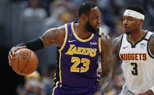 James Triple Double Davis Lead Lakers Past Nuggets 120 116