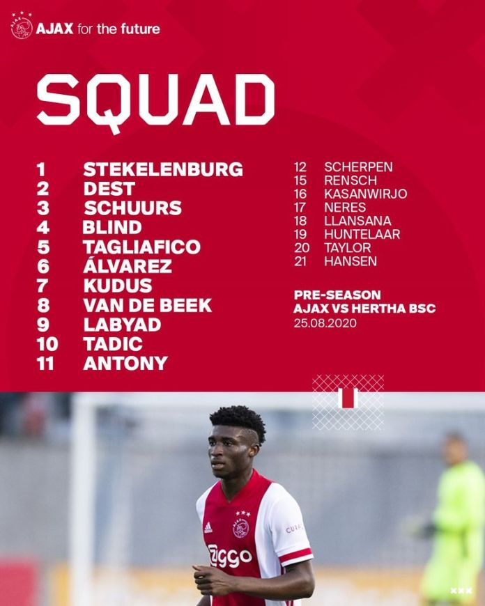 Kudus Mohammed Features For Ajax In Friendly Against Hertha Berlin Sports24online