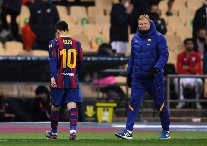 Lionel Messi has been sent off for the first time in his Barcelona career