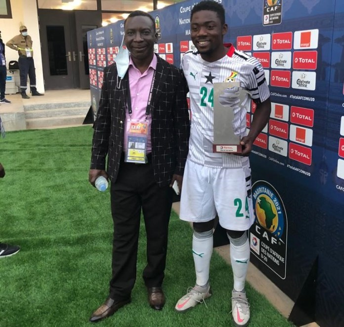 Chairman Rhyzo and Black Satellites Super Sub Frank Boateng who won Man-of-the-Match in the game against Cameroon. He also scored the equalizer for Ghana