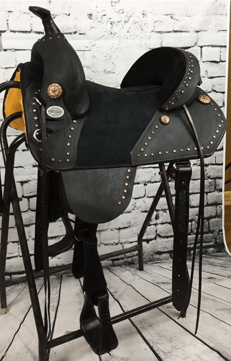 BLACK ROUGH OUT Barrel Saddle