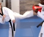 Front Foot Round House Kick in Taekwondo