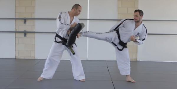 Front Foot Side Kick in Taekwondo