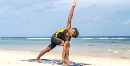 This is The Triangle Pose in Yoga