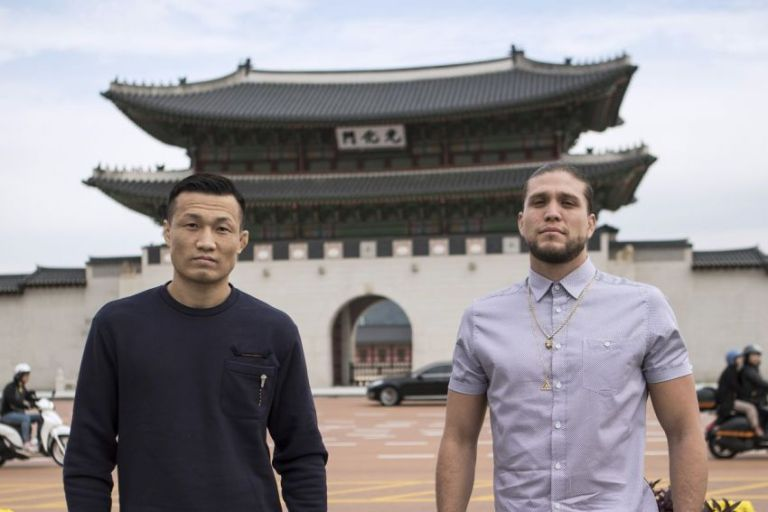 """Brian Ortega turned to a """"Korean zombie"""" with a proposal for a fight."""