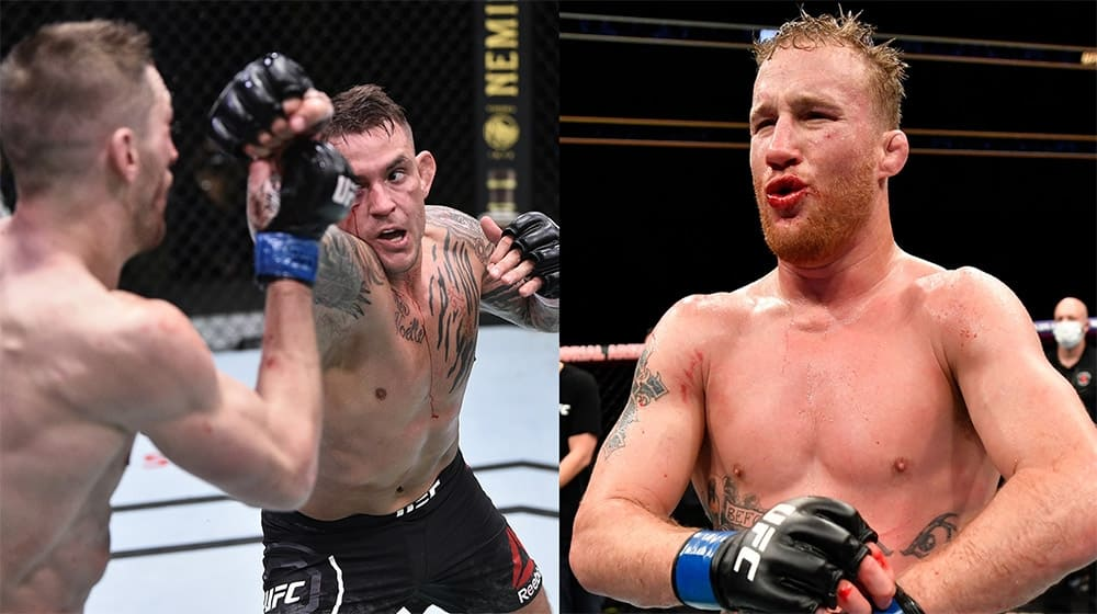 Justin Gaethje reacts to Porrier and Hooker fight