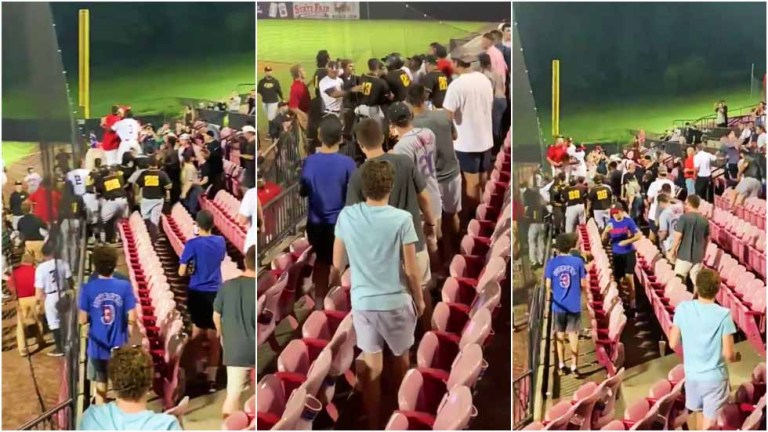 Baseball team storm the stands to confront fans after being showered with beer – VIDEO