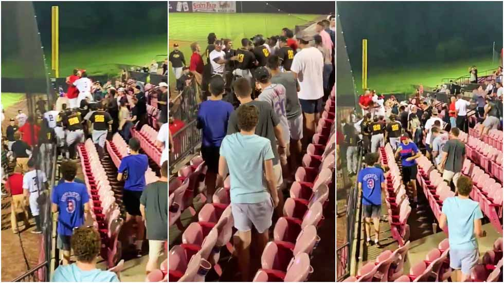 Baseball team storm the stands to confront fans after being showered with beer - VIDEO