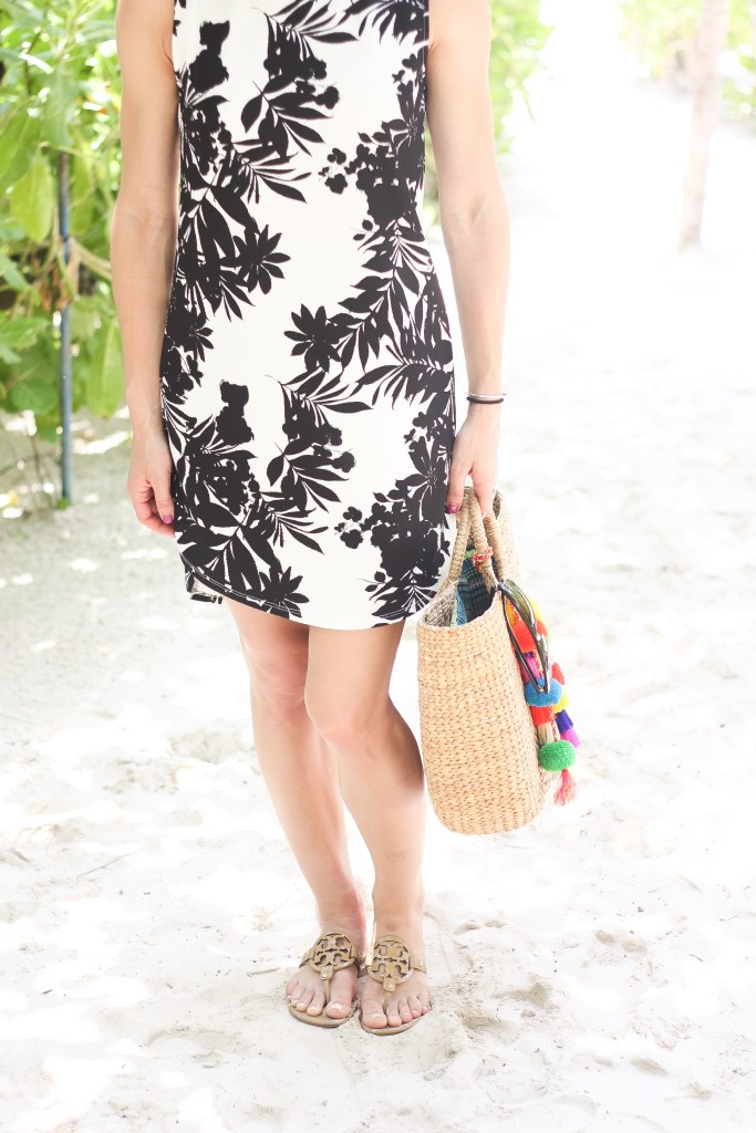 J.Crew Panama Hat, Spring Break, Spring Beach Fashion, Beach Cover-up, Palm Tree Printed Cover-up, Marshalls, Project Fab, Tory Burch Miller Sandals, JadeTribe Pom Pom Tote, Ray Ban, Tom Brady Deflate, Marshalls Palm Tree Printed Dress