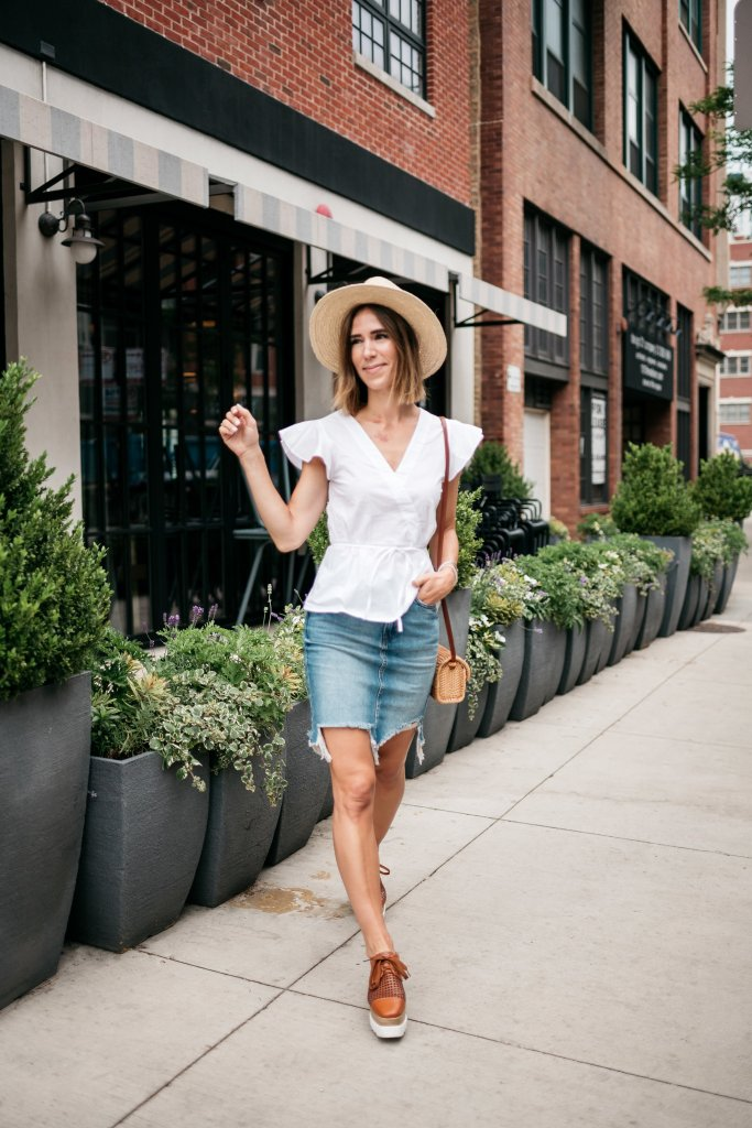 Seattle Fashion Blogger Sportsanista white flutter sleeve blouse and H&M distressed denim skirt