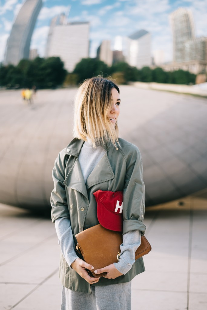Tommy Hilfiger Double-Breasted Utility Jacket, Tommy Hilfiger WOOL SWEATER DRESS, VINTAGE HILFIGER CAP, Cloud Gate, Chicago, The Bean, Millenium Park, Taupe suede booties,