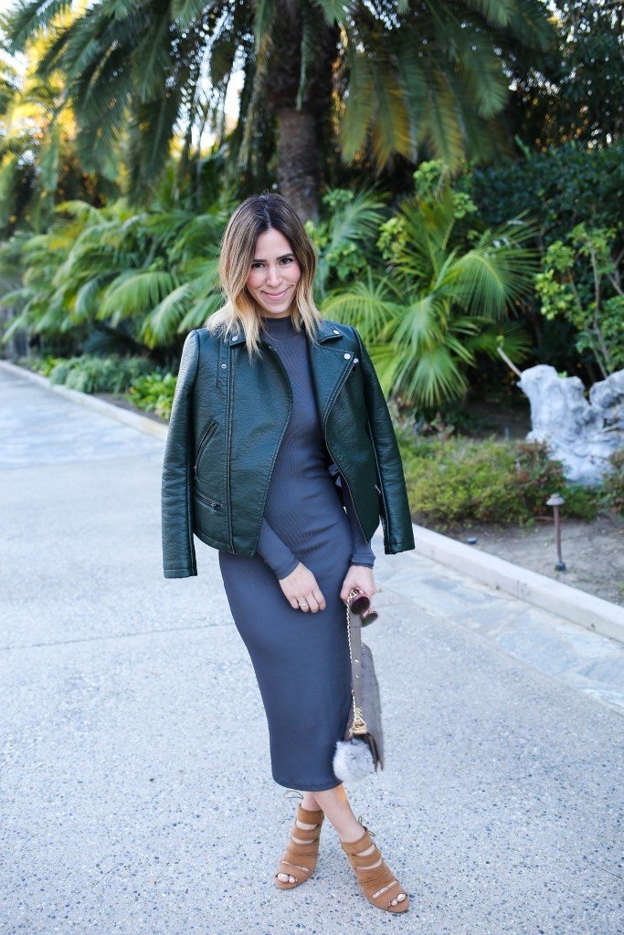 H&M Turtleneck Maxi Dress, Forever 21 Green Moto Jacket, Seychelles Sandals, BCBG Tote, Rabbit Fur Key Chain