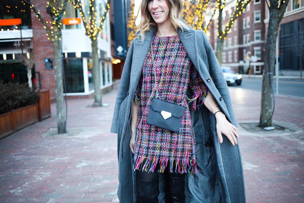 multicolor round neck tassel dress, Chicago blogger, Travel fashion ideas