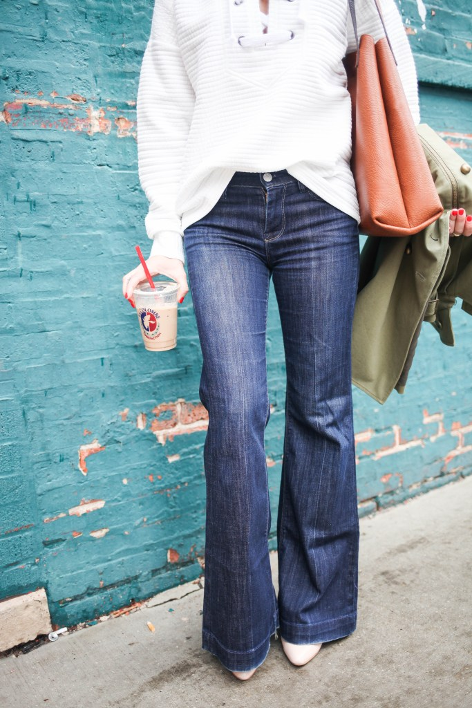 White Lace Up Front Sweatshirt, La Colombe, Casual Monday, Sevens for All Makind Bell Denim