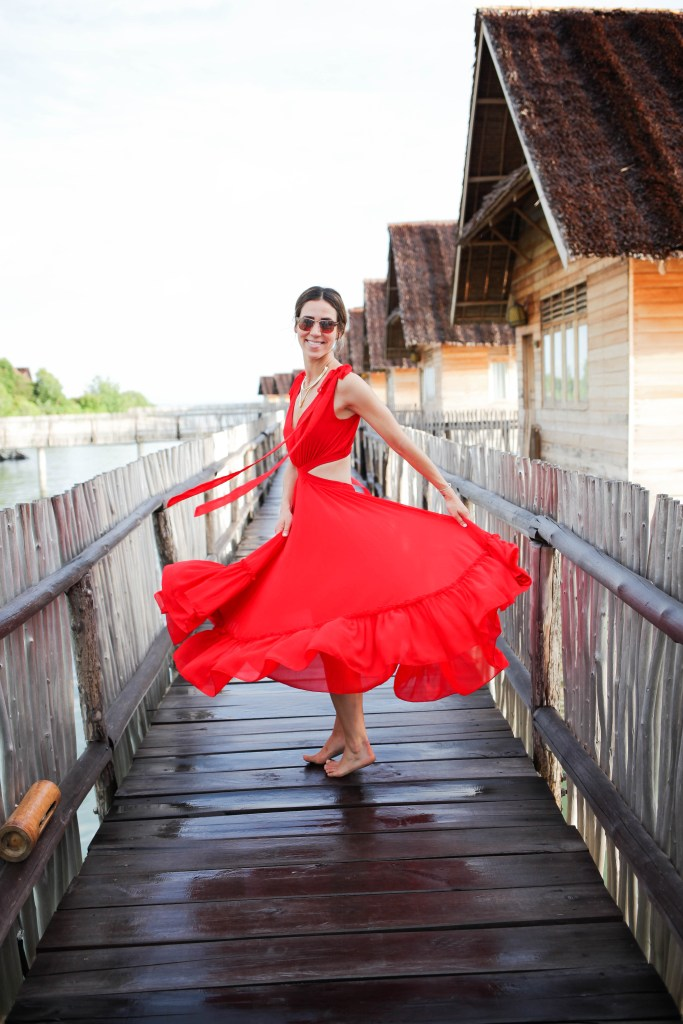 Red V neck backless dress, Telunas Private Island, Chicago Fashion Blogger, Sports and Fashion