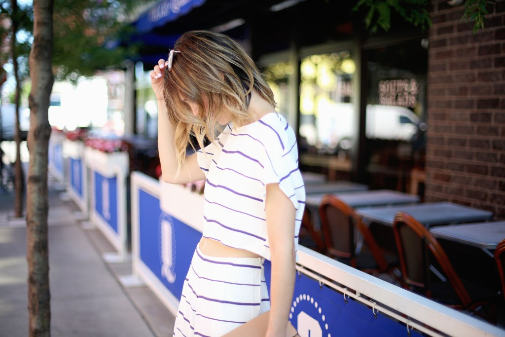 Wide led striped pants, Tobi Fashion, Chicago Fashion Blogger, Sports and Fashion, Fourth of July fashion