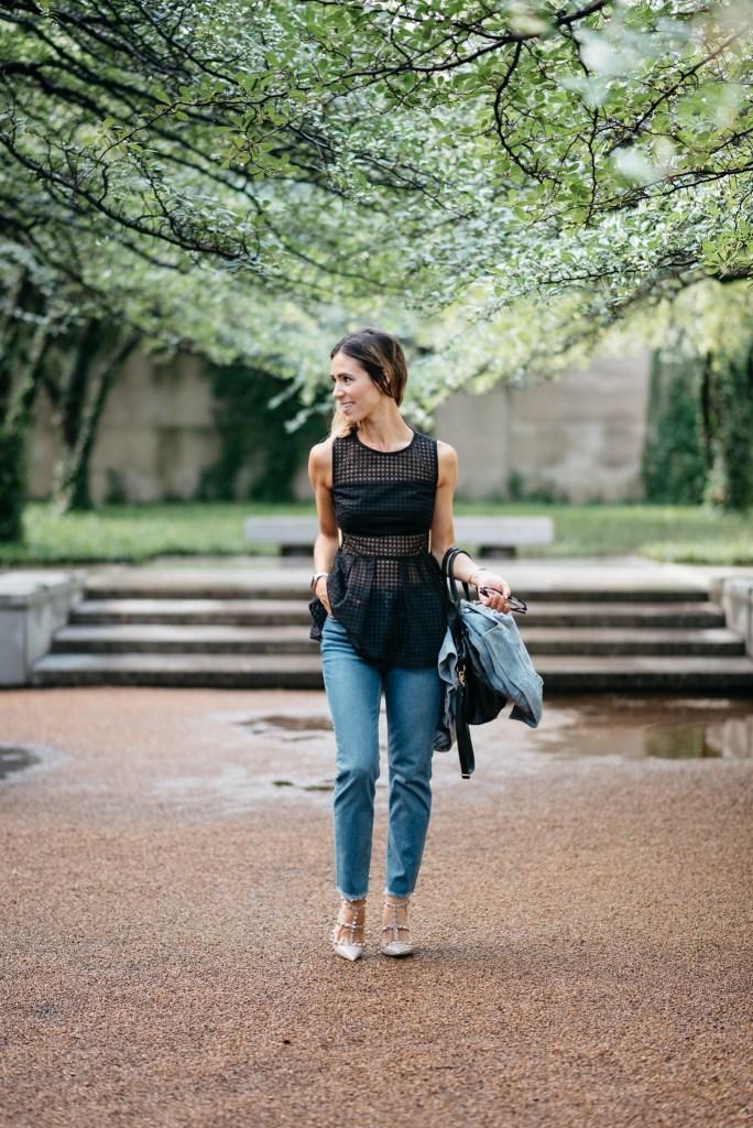 Black Sleeveless Eyelet Peplum Blouse, Raw Hem Straight Leg Jeans, Valentino Rockstud Pumps, Chicago Fashion Blogger