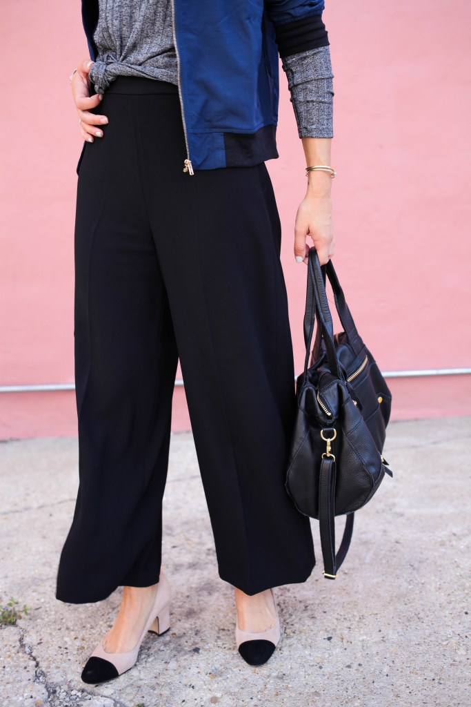 Suede cap toe heels, wide leg crop pants, Harlowe & Graham Cutout top, Chicago Fashion Blogger