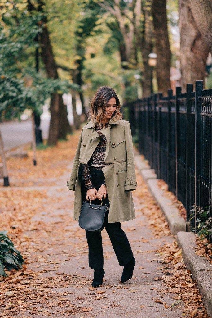 Lace Cut Out Blouse and Olive Trench Coat