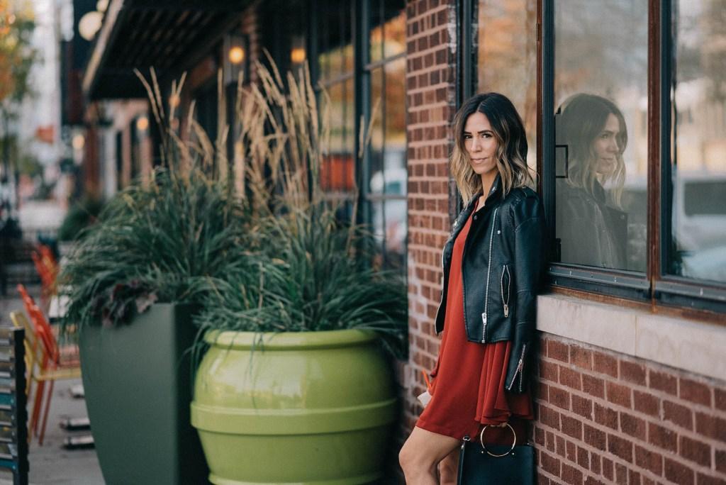 Ruffle Long Sleeve Shift Dress and Holiday fashion ideas