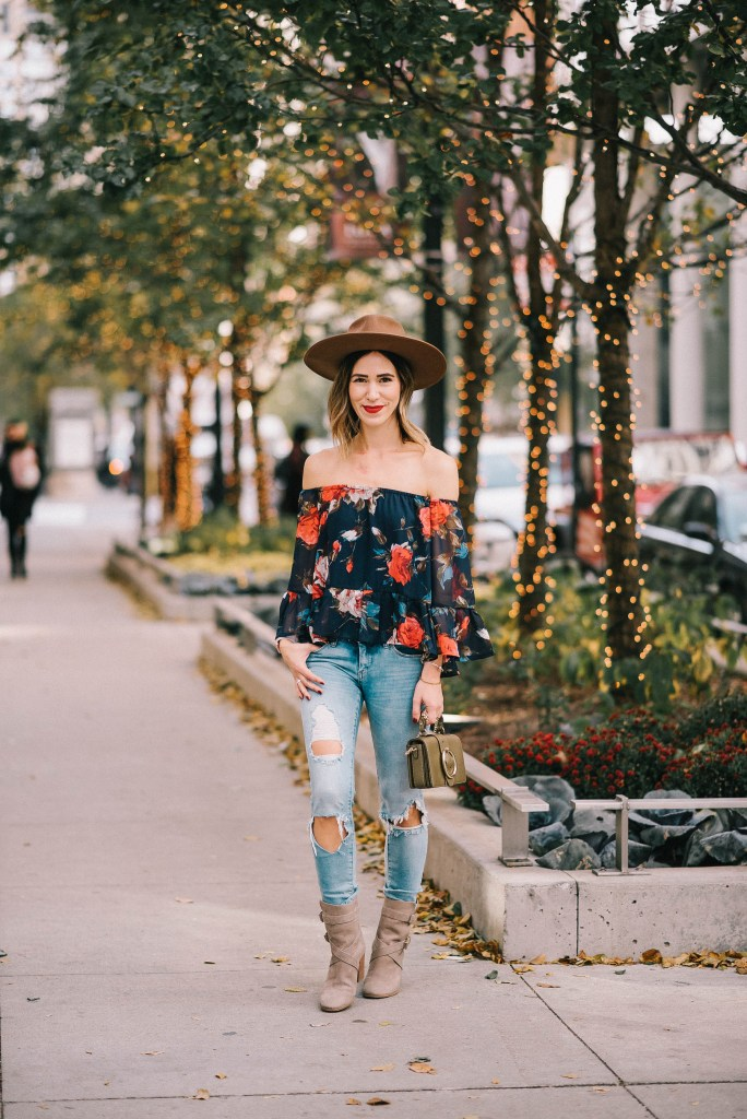 Multicolor Floral Off The Shoulder Blouse and Chicago Fashion Blogger