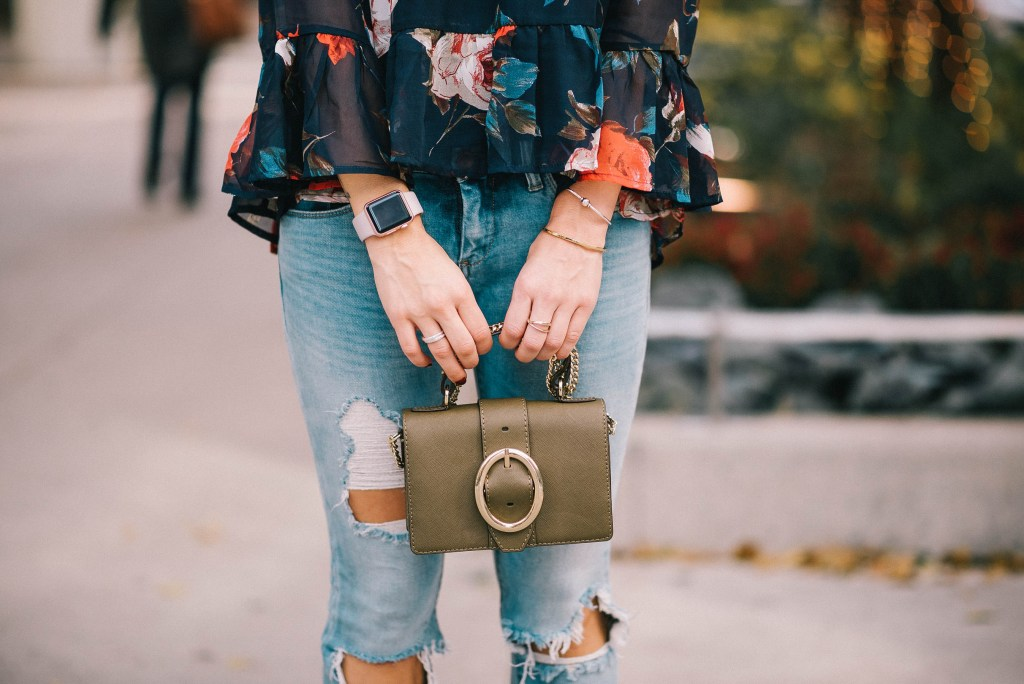 Blank NYC Distressed Denim and Mini Crossbody Bag
