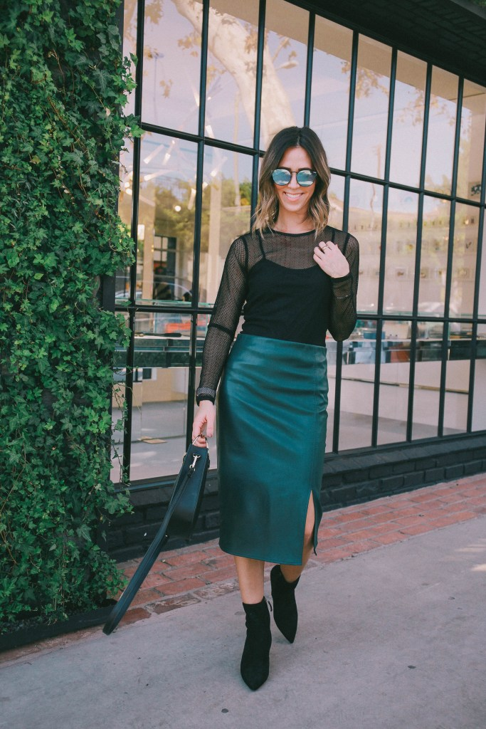 faux leather pencil skirt and Mesh top