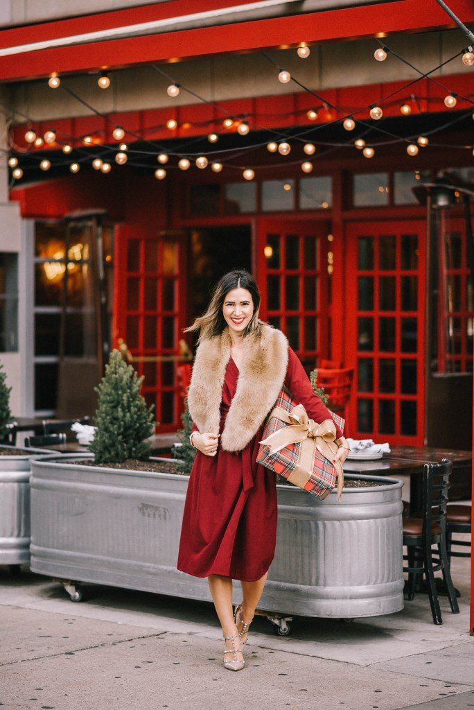 Red wrap dress for the holidays and chicago fashion blogger