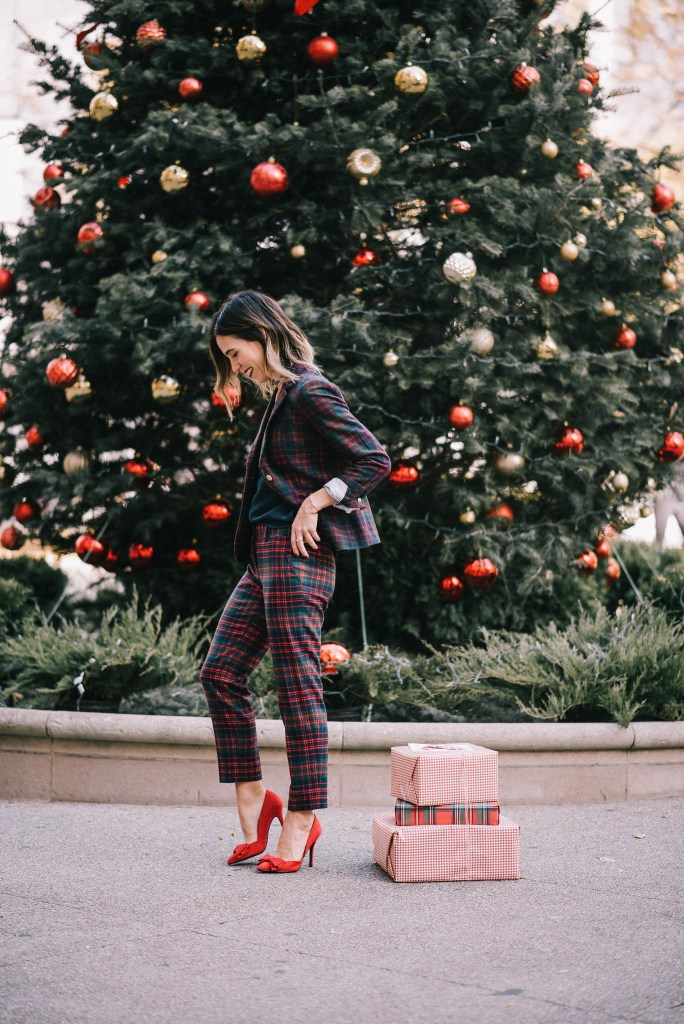 J.Crew Plaid Suit and Red Pumps with Bows