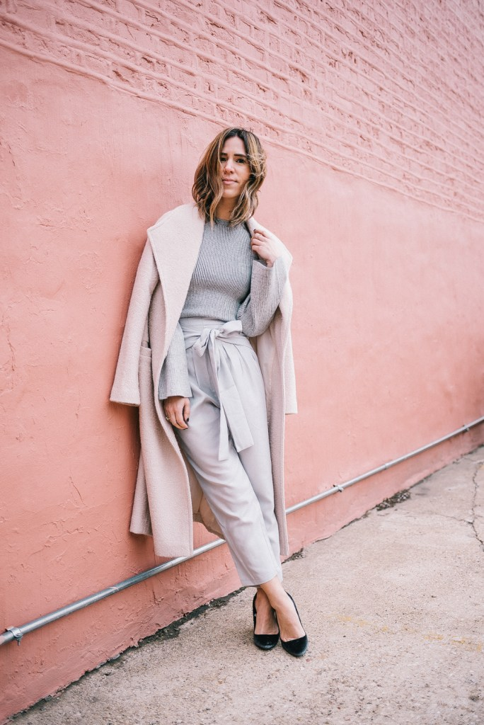 ASOS Duster Coat with Grey Cropped Pants with Bow and Target velvet pumps
