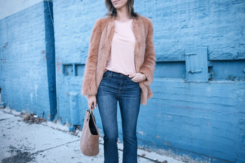 Blogger Mary Krosnjar wearing Ann Taylor Faux Fur Jacket and ASOS Metallic Sneakers