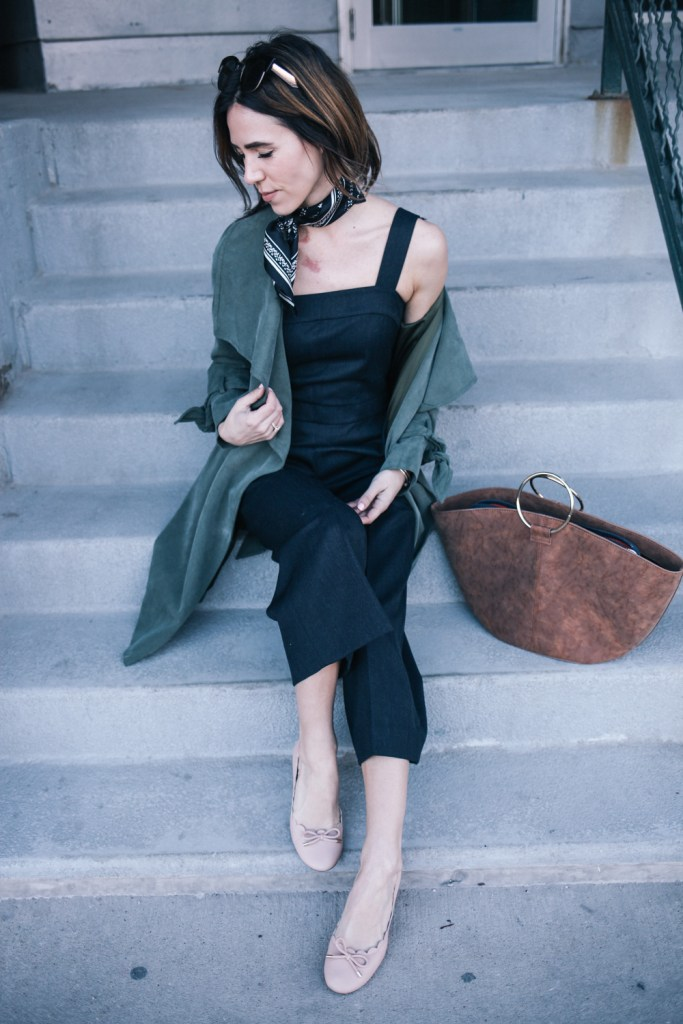 Blogger Mary Krosnjar wearing the NYFW Club Monaco Collection and Kate Spade Scalloped Heels