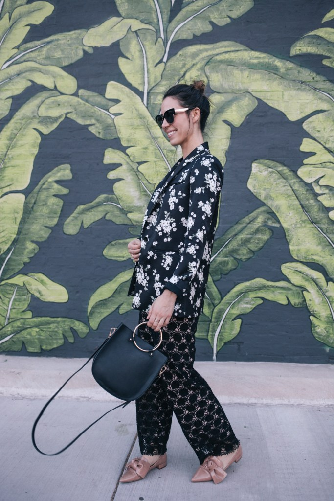 Blogger Mary Krosnjar wearing AMUR Floral Blazer and Lace Jumpsuit