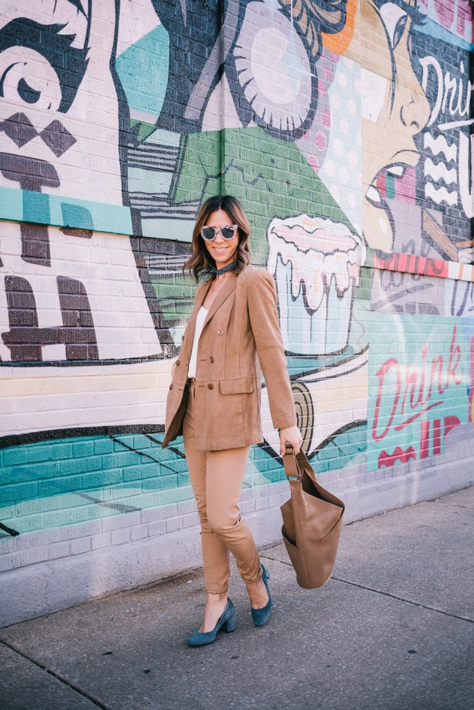 Blogger Mary Krosnjar wearing Suede Worth New York Blazer