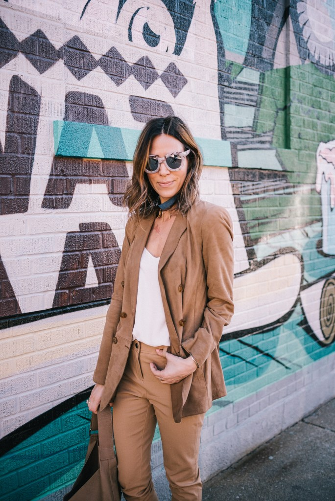Blogger Mary Krosnjar wearing Worth New York Suede Blazer  and Denim Choker