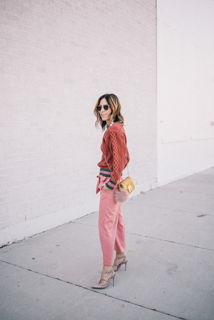 Blogger Mary Krosnjar wearing Storets Lace Sweatshirt, Furla Crossbody and Pink Pants