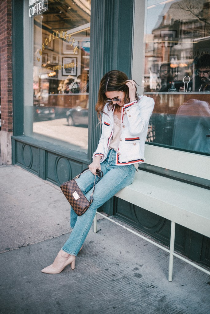 Blogger Mary Krosnjar styling White Striped Trim Frayed Tweed Jacket with H&M high-waisted denim