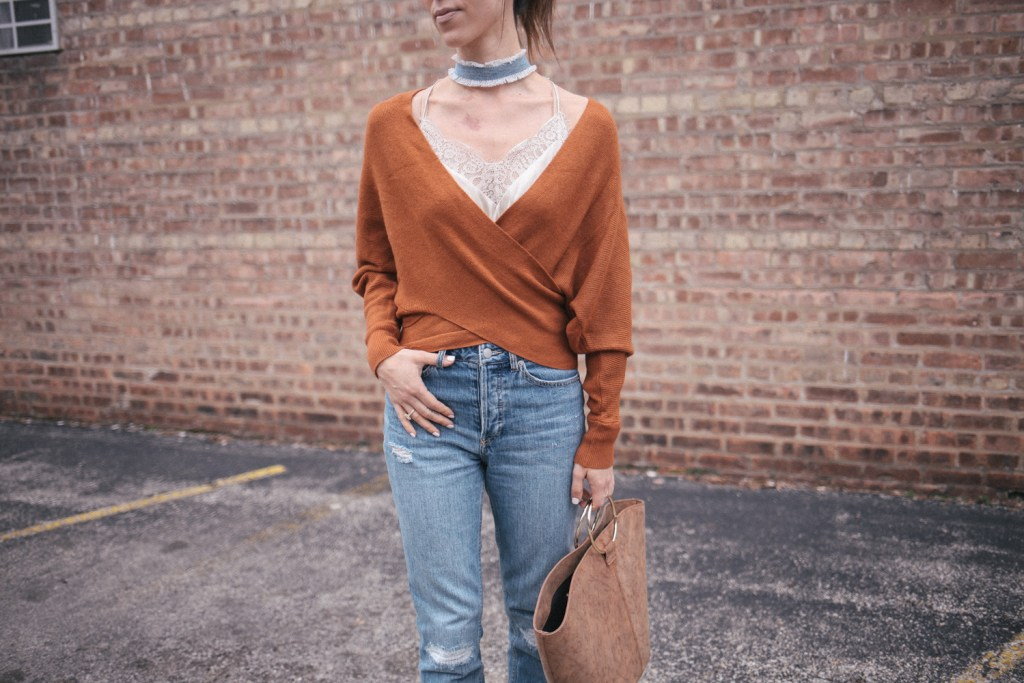 Weekend casual look with wrapped Shein sweater and boyfriend denim from H&M