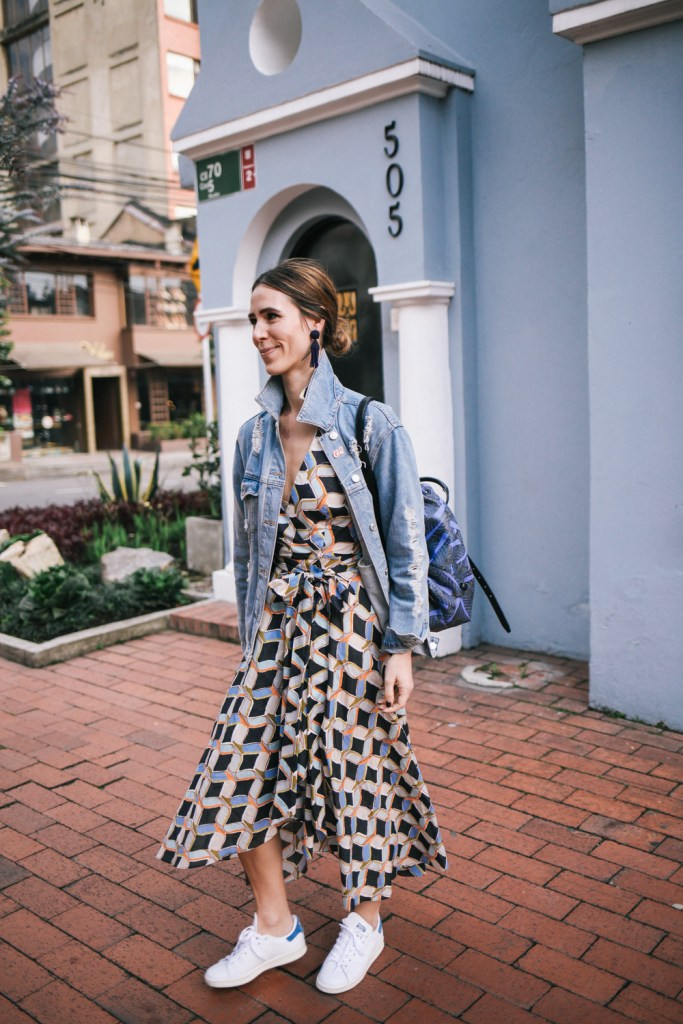 Blogger Mary Krosnjar wearing Milly Printed Valerie Dress and Stan Smith Adidas sneakers