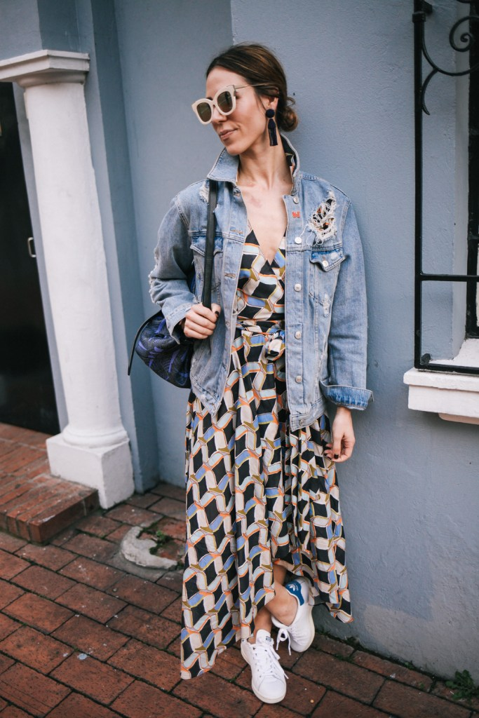 Blogger Mary Krosnjar wearing Milly Printed Valerie Dress and Distressed denim jacket