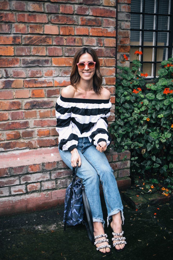 Blogger Mary Krosnjar wearing MLM Label Off the Shoulder Top and H&M Denim