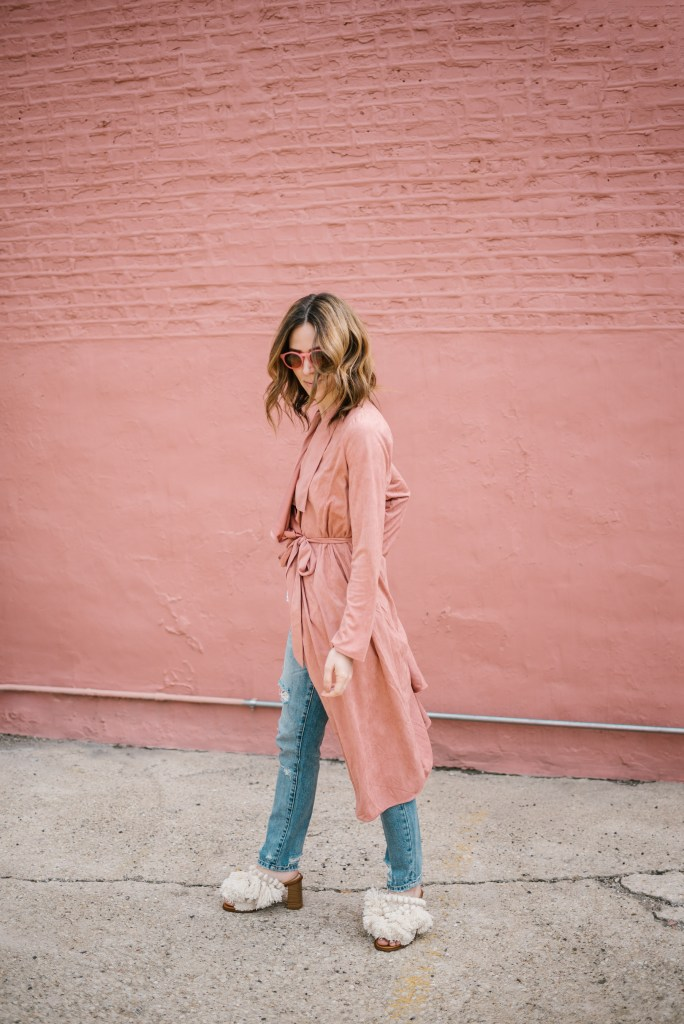 Ily Couture Blush Pink Duster Coat and Fringe Mules from Zara