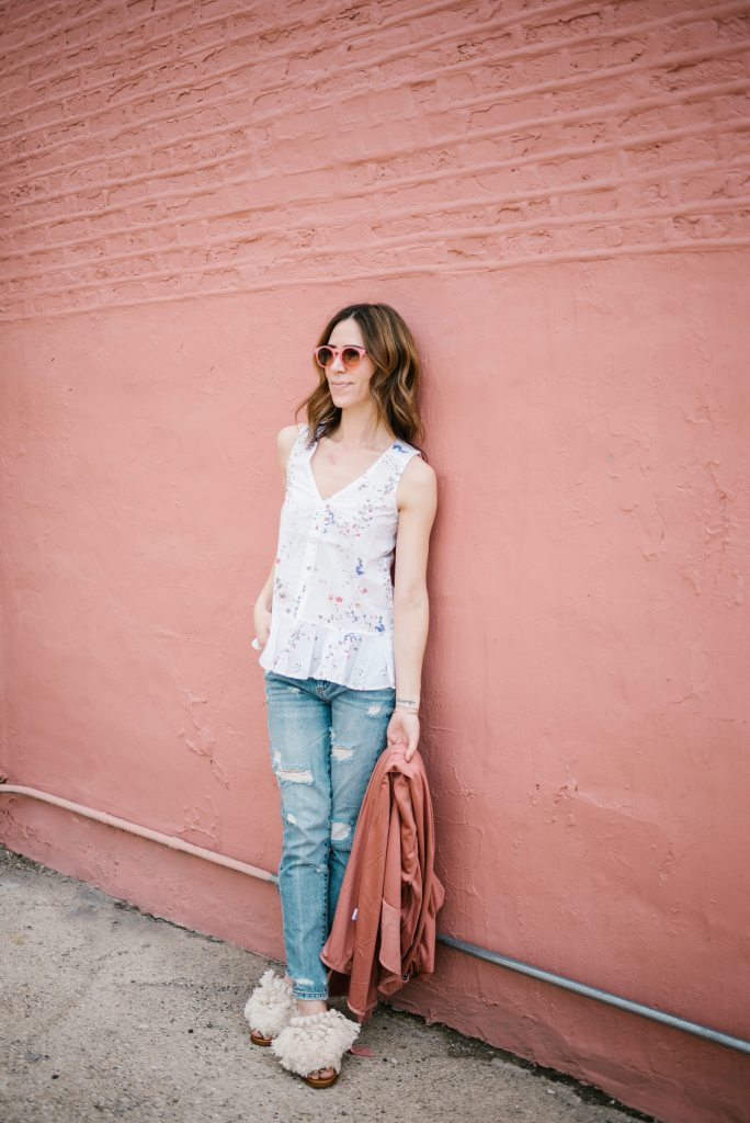 Loft Pink Sunglasses and Blank NYC distressed denim