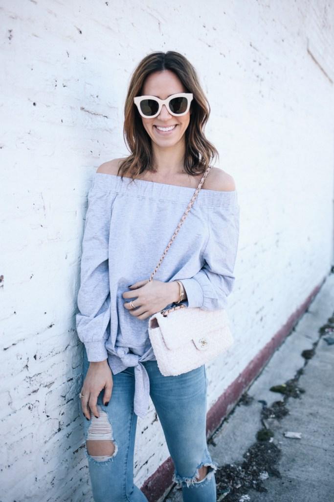Blogger Mary Krosnjar wearing BP Mirrored Sunglasses and Ily Off the Shoulder Tie Sweatshirt