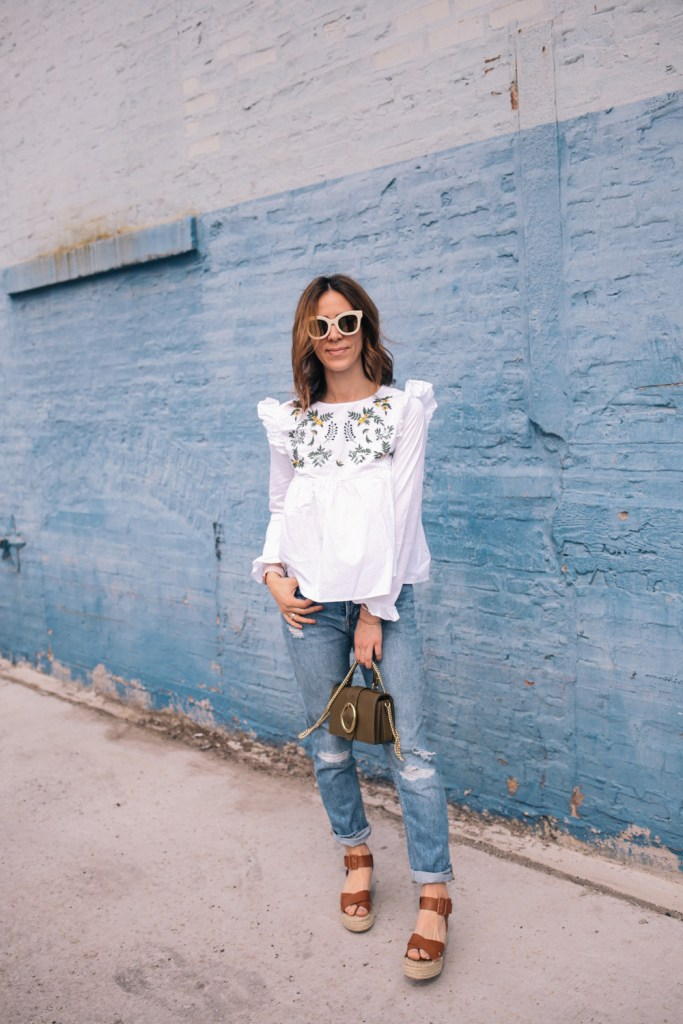 Blogger Mary Krosnjar wearing Sole Society espadrilles and White Embroidery Ruffle Trim Pleated Blouse