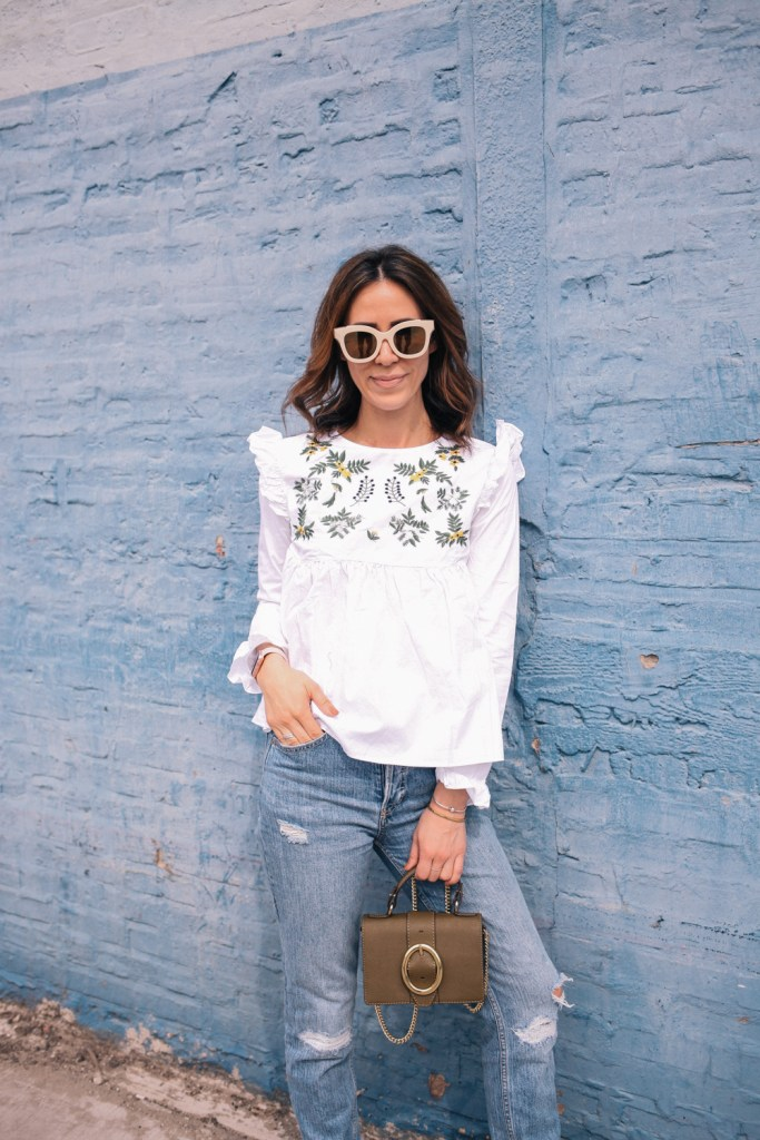 Blogger Mary Krosnjar wearing White Embroidery Ruffle Trim Pleated Blouse and mini crossbody