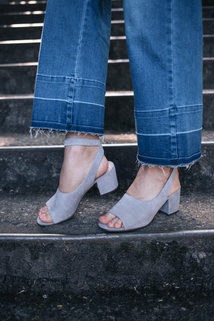 Kensie cropped flare denim and Nine West Suede summer sandals