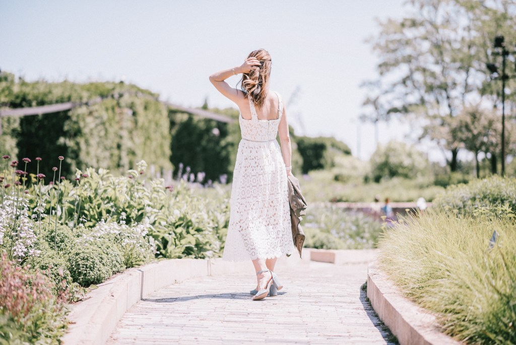 Morning Lavender White Lace Midi Dress and Steve Madden Blue Suede Heels