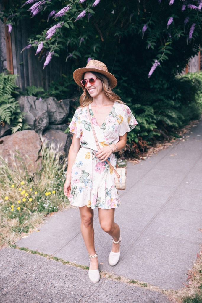 Floral Wrap Dress for Summer and Sole Society Straw Hat